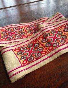 Vintage Hmong fabric Tribal Hemp Cross Stitch by KutchiKooTribe, $28.00