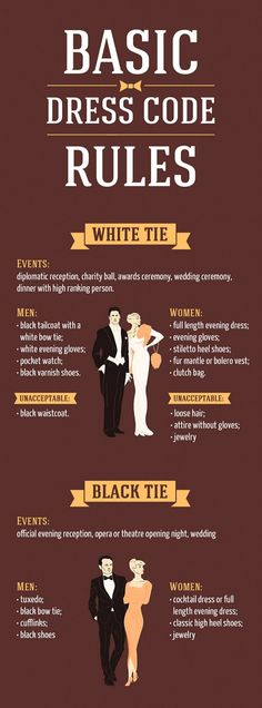 Learn the basic dress-code rules with this infographic.