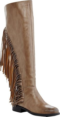 Bamboo Circus 05 Women's Fringe Moccasin Under Knee High