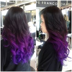 Purple dip dyed hair