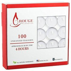 Rouge Tealight Candles NO Paraffin Set of 100 Count Pack - White Unscented All Natural Paraffin Free Tea Lights Candles Non Toxic Tea-lights Burn Time 4 Hours - High Quality Tea Candles Made in USA T