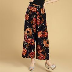 2017 Floral Print Summer Women Wide Leg Pants Casual Loose High Waist Fashion  Trousers Plus Size 8373061c698