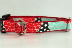 Red & Teal Floral Personalized Dog Collar Leash or by TheFrenchDog