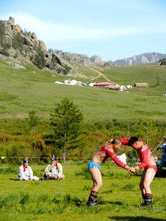 Wrestlers at Nadaam in Terelj, Mongolia...
