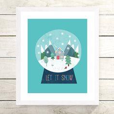 "'Snow Globe"" art print evokes that magical feeling of a Winter Wonderland. An ideal Christmas gift or Winter Birthday. Christmas Print, Christmas Themes, Globe Art, Winter Birthday, Unique Birthday Gifts, Personalized Christmas Gifts, Grandpa Gifts, Baby Art, Gifts For Mum"