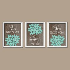 Home Decor Wall Art, Live Laugh Love, Yellow Wall Art, Flower ...