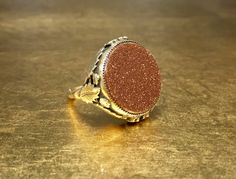Arts and Crafts Ring | Goldstone Ring | Cabochon Ring | Arts and Crafts Era | Adjustable Ring | Antique Leaf Ring | Goldstone | Flattop