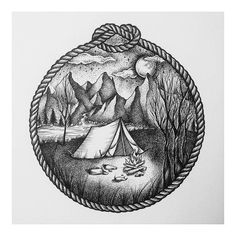 Camping Fashion Decor - - - Youth Camping Logo - Camping Food On A Stick - Cool Art Drawings, Ink Pen Drawings, Art Drawings Sketches, Tattoo Drawings, Hiking Tattoo, Camping Tattoo, Forest Tattoos, Nature Tattoos, Tattoo Geometrique