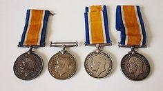 4-BRITISH-WAR-MEDALS-BWM-WW1-First-world-war-Three-Regiments-Solid-Silver incl. 32637 P. HORTON – Loyal North Lancashire Regiment