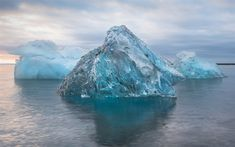 Download wallpapers Icebergs, Antarctica, sunset, sea, south pole, ice