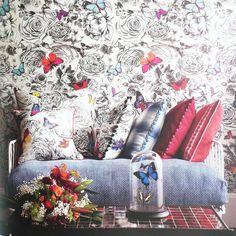 Osborne and Little Verdanta Wallpapers Butterfly Garden W6592-01 Multi and Pale Linen
