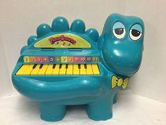 Vintage PianoSaurus Piano Dinosaur Turquoise 12 Keys Child's Keyboard #ProllToys