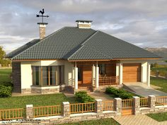 Project of a one-story residential building U Shaped House Plans, U Shaped Houses, Wooden House Design, Country Home Exteriors, Country Homes, Rural House, House Elevation, Village Houses, House Entrance