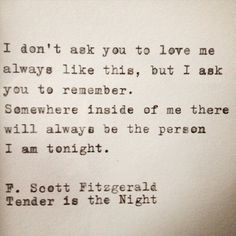 Tender is the Night | Love Quotes
