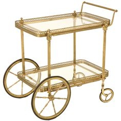 Vintage French Brass Tea or Bar Cart thumbnail 1 Traditional Bar Carts, Antique Tea Cart, Liquor Cart, Vintage Bar Carts, Gold Bar Cart, Bar Cart Decor, Serving Cart, Bar Furniture, Bars For Home