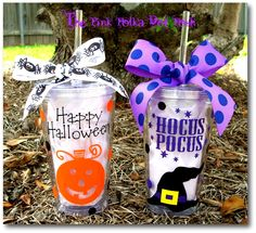 HAPPY HALLOWEEN 16oz Clear Acrylic Tumbler Cup with Screw on Acrylic Lid and…