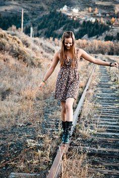 floral dress/ black boots