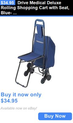 Other Mobility and Disability: Drive Medical Deluxe Rolling Shopping Cart With Seat, Blue- 607Bl New BUY IT NOW ONLY: $34.95