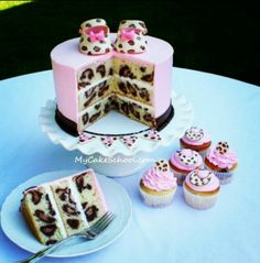 cute leopard print cake for a girl baby shower/1 year old party!