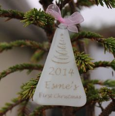 First Christmas Personalised Tree Decoration by Studio56FusedGlass