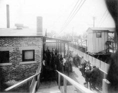 Mexicans wait to be bathed and deloused at the Santa Fe Bridge quarantine plant, 1917. Mexican border crossers were not considered illegal in the United States until 1917, when a new law imposed formidable barriers to entry: a literacy test, a head tax and a prohibition against contract labor. Mexican nationals for the first time needed a passport to enter the United States. Photo credit: National Archives