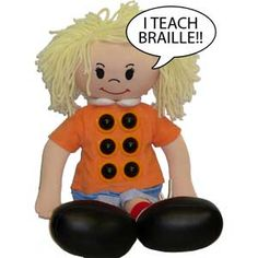 Braille dots on doll's tummy can be raised or depressed to create different letters.