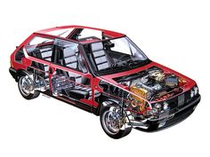 Fiat Ritma Abarth - Illustrated by Bruno Betti Technical Illustration, Technical Drawing, Cutaway, Rally Car, Car Car, Maserati, Ferrari, Fiat Abarth, Car Drawings