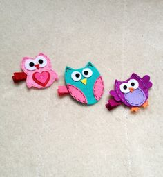 3 Pretty Owls Baby Girls Hair Clips Alligator by ThePopularPeacock, $9.25