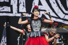 Moametal, Su-metal and Yuimetal of Babymetal perform at Leeds Festival at Bramham Park on August 30, 2015 in Leeds, England.