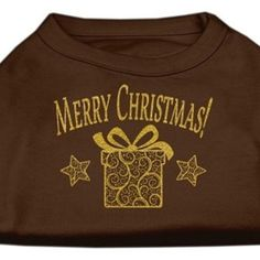 Golden Christmas Present Dog Shirt Brown XL (16)