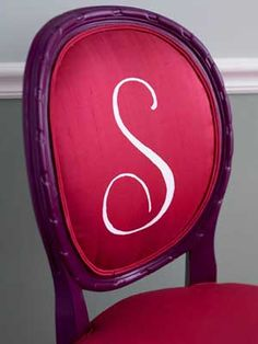lettered chair back