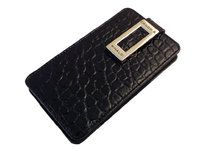 Classical and masculine black leather Cango & Rinaldi mobile phone bag with small square pattern is now available.