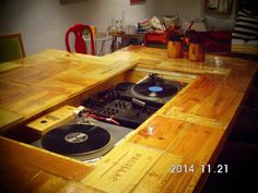 difrent angle with drawers with my DJ turntables and mixer
