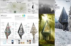 Primeval Symbiosis - Single Pole House by Konrad Wójcik Architecture Presentation Board, Concept Architecture, Interior Architecture, Woodland House, Forest House, Pole House, Shelter Design, Tree House Designs, A Frame House