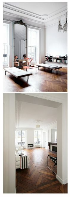 Parquet floors are still in?-Parquet floors are still in? I don& love all the parquet patterns, but I LOVE herringbone parquet. I thought today I& just share some examples of how gorgeous it can be…via housean - Parisian Apartment, Paris Apartments, French Apartment, Home Interior, Interior Architecture, Apartment Interior, Apartment Ideas, Parquet Flooring, Wooden Flooring