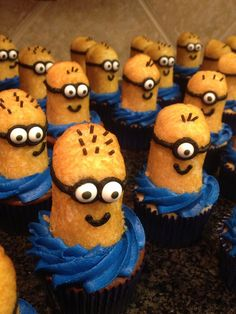 Minion Cupcakes I might make for Braylyn's Bake Sale/ Car Wash at AV Dance Studio this Saturday.