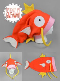 We have a winner for the Magikarp Hat Giveaway! Super awesome congratulations to. We have a winner for the Magikarp Hat Giveaway! Super awesome congratulations to Hope, who can be f Crazy Hat Day, Crazy Hats, Sewing Hacks, Sewing Crafts, Sewing Projects, Knitting Projects, Magikarp Hat, Pokemon Hat, Fleece Hats