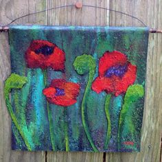I have been playing with acrylics on tar paper this week. The top wall hanging is inches and the bottom poppies measure inches. To make the poppies, . Felt Art, Art Club, Art For Kids, Kid Art, Art Auction, Beautiful Artwork, Cool Art, Awesome Art, Art World