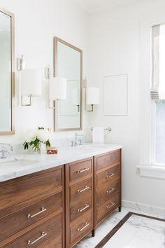 Modern White Double Vanity Bathroom With Marble Top, Wood, And Inlaid Flooring Bathroom Vanity Designs, Best Bathroom Vanities, Bathroom Vanity Lighting, Bathroom Interior Design, Brown Bathroom, Wood Bathroom, Modern Bathroom, Bathroom Ideas, Marble Bathrooms