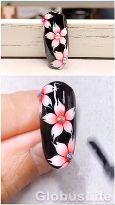 Nail Art Designs Videos, Nail Design Video, Simple Nail Art Designs, Nail Art Flowers Designs, Beginner Nail Designs, Art Simple, Nail Art Videos, Rose Nail Art, Floral Nail Art