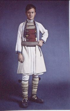 Traditional costume from Macedonia. Greek Traditional Dress, Traditional Outfits, Republic Of Macedonia, Dress Attire, Folk Costume, Folk Fashion, Greeks, Bulgarian, Fashion Outfits