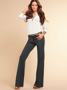 The Christie Flare Pant in Stretch Cotton - Victoria's Secret Tall Pants, Flare Leg Pants, Victoria Secret Outfits, Joggers Womens, Business Attire, Capsule Wardrobe, Bell Bottom Jeans, Pants For Women, Cotton