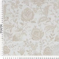Decorator Fabric - Tan Floral on Ivory Polyester Fabric