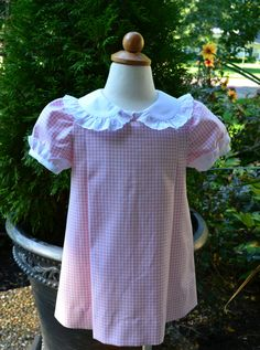 Gingham school dress with Swiss lace by vintagebabyclothier