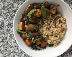 Roast Butternut with Barley Risotto Recipe by Claudine Noppe Barley Risotto, Roasting Tins, Risotto Recipes, Roasted Butternut, Good Enough To Eat, Roast Recipes, Easy Weeknight Meals, Vegan Friendly, Vegetarian Recipes