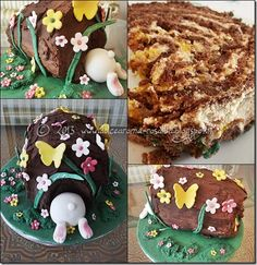 Il coniglio nella tana (torta con bisquit al cacao, mousse al burro di arachidi e marmellata di arance)