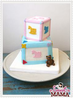 Cake for a baby shower: girl and boy twins. #babyshower #cake www.sweetmama.es