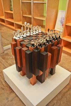 Collaborative functional abstract chess board privately commissioned. Wood base built and designed by Reagan Johns. Features 32 borosilicate glass pieces on cedar with hidden pull out draws for storing each piece. Comments comments