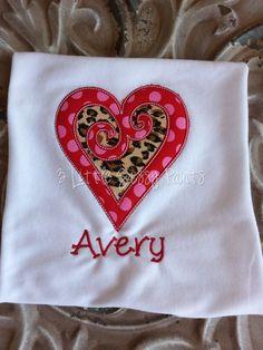 Swirl Heart Embroidered Shirt- Valentine's Day Shirt- Heart- Applique- Custom- Monogram- Girls Valentine Shirt on Etsy, $20.00