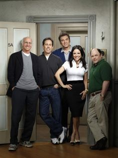"Cast of ""Seinfeld"" - The show about nothing. Names: Julia Louis-Dreyfus, Jerry Seinfeld, Jason Alexander, Larry David, Michael Richards"